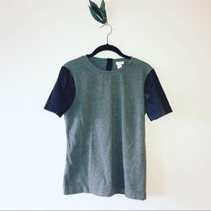 J Crew Leather-Sleeved T-Shirt
